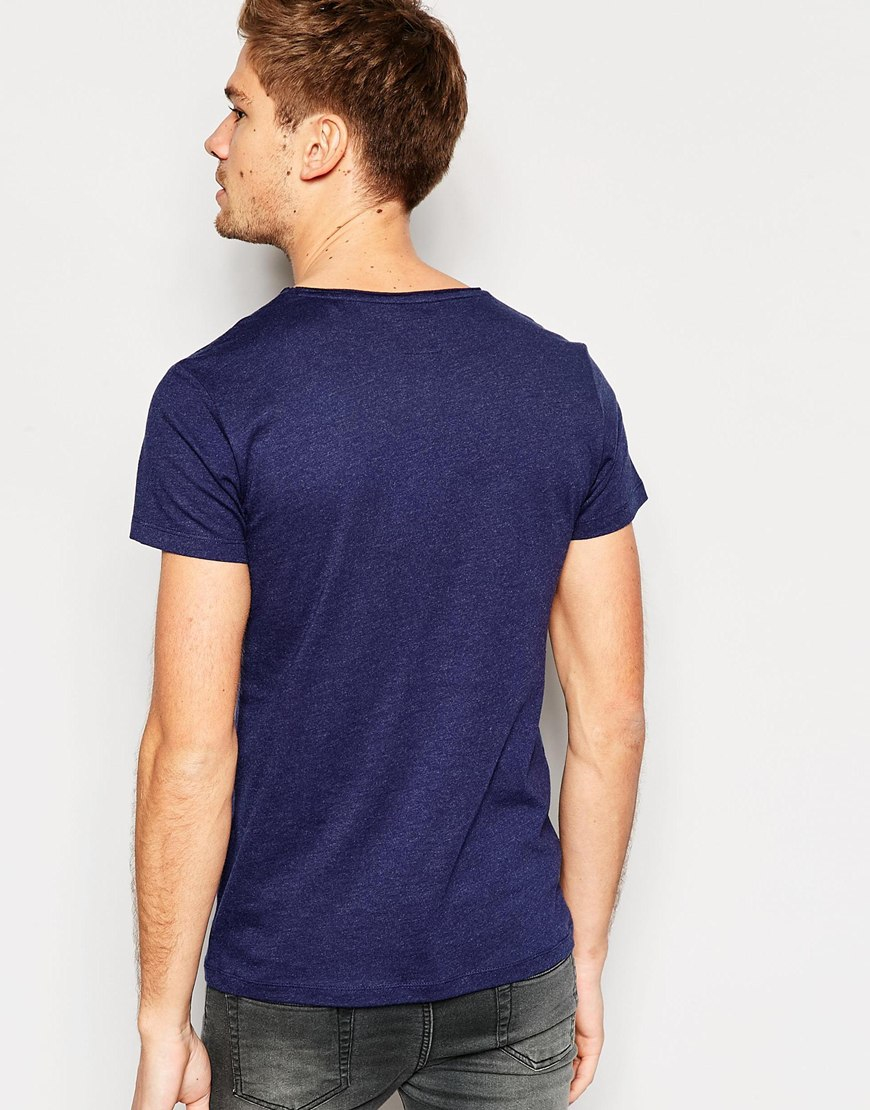 esprit t shirt with raw edges navy in blue for men lyst. Black Bedroom Furniture Sets. Home Design Ideas
