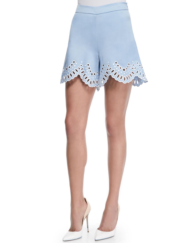 lyst oscar de la renta high waist laser cut eyelet shorts in blue. Black Bedroom Furniture Sets. Home Design Ideas