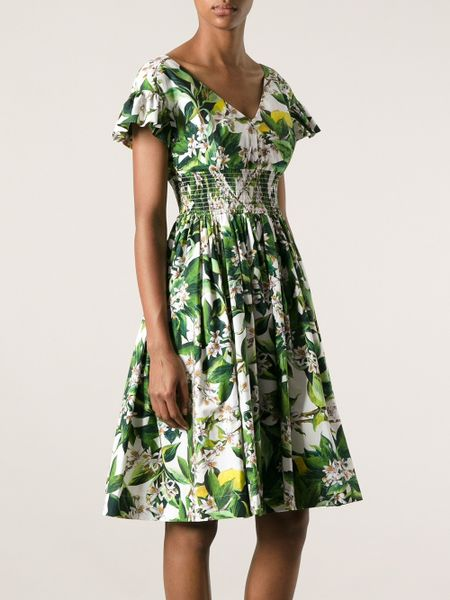 Dolce Amp Gabbana Floral Print Dress In Green Lyst
