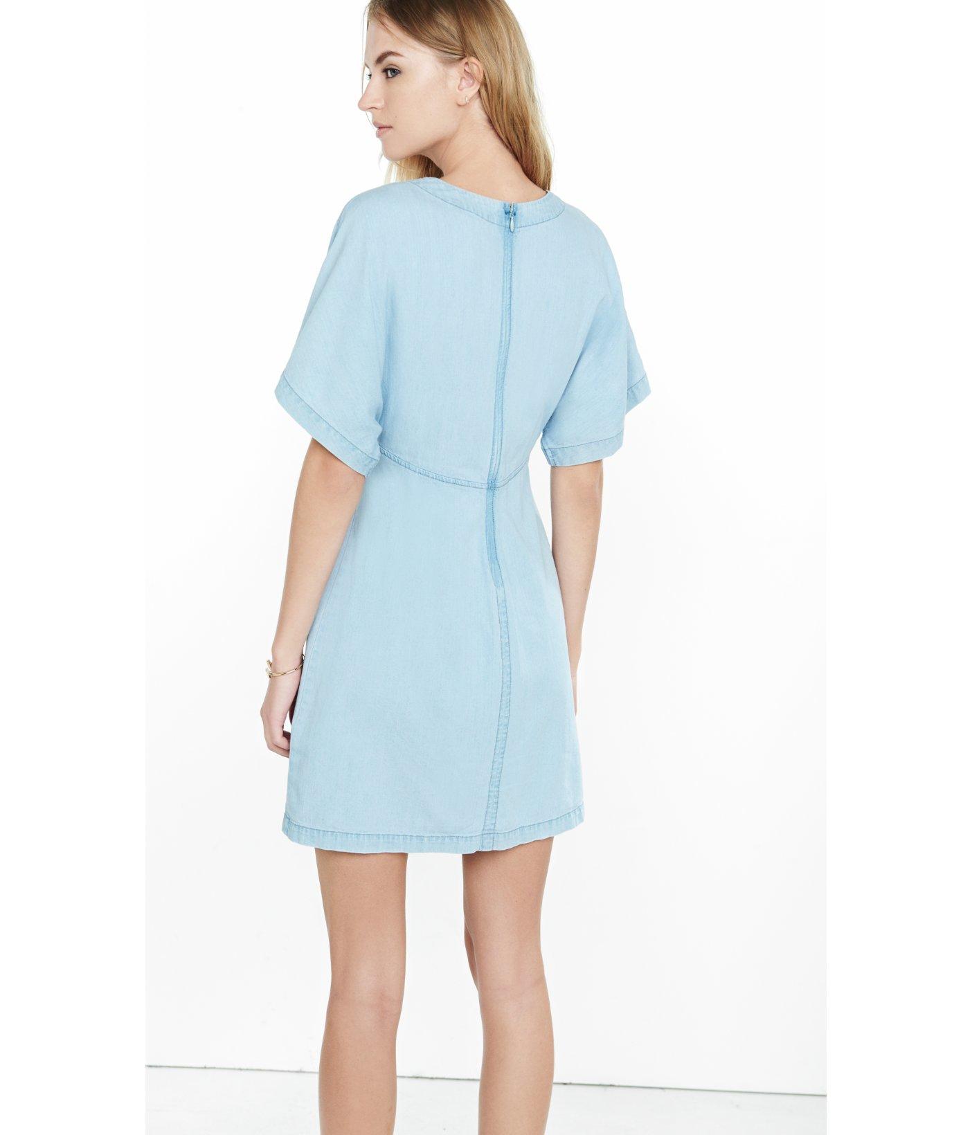7f84516797 Lyst - Express Denim Short Kimono Sleeve Dress in Blue