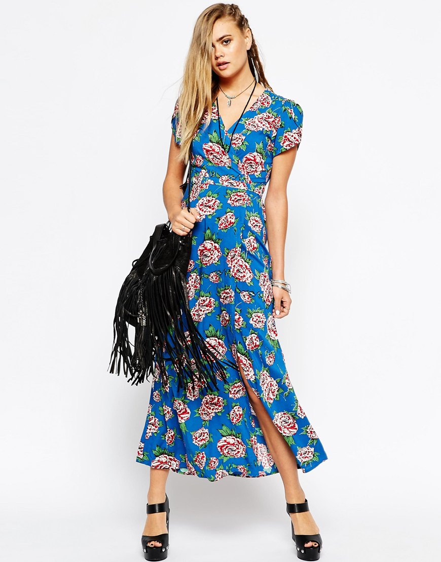 38fa401ff7a Lyst - Motel Wrap Front Maxi Dress With Thigh Split In Floral Print
