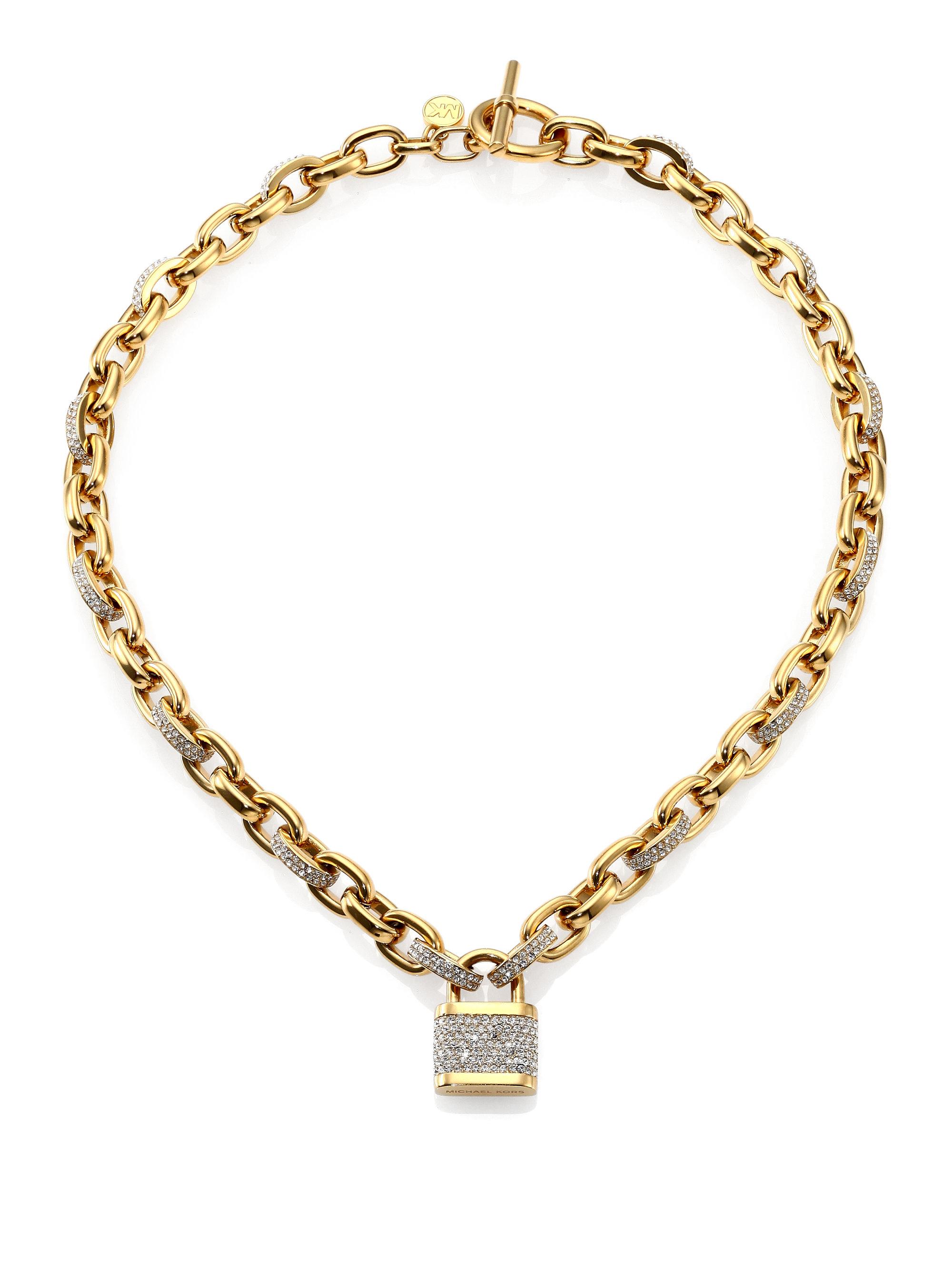 Lyst Michael Kors Motif PavEacute Padlock Chain Necklace