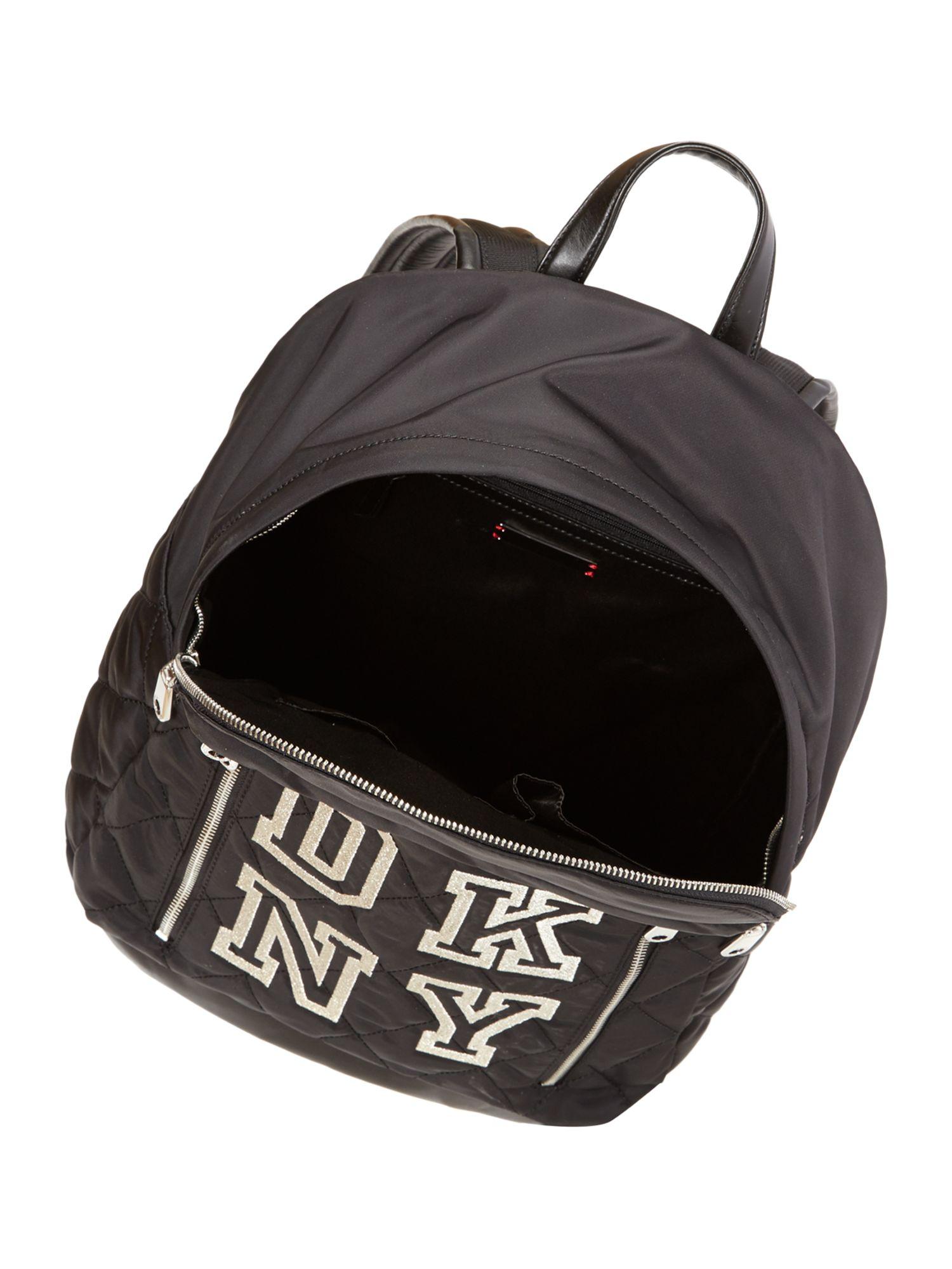 dkny black nylon backpack in black lyst