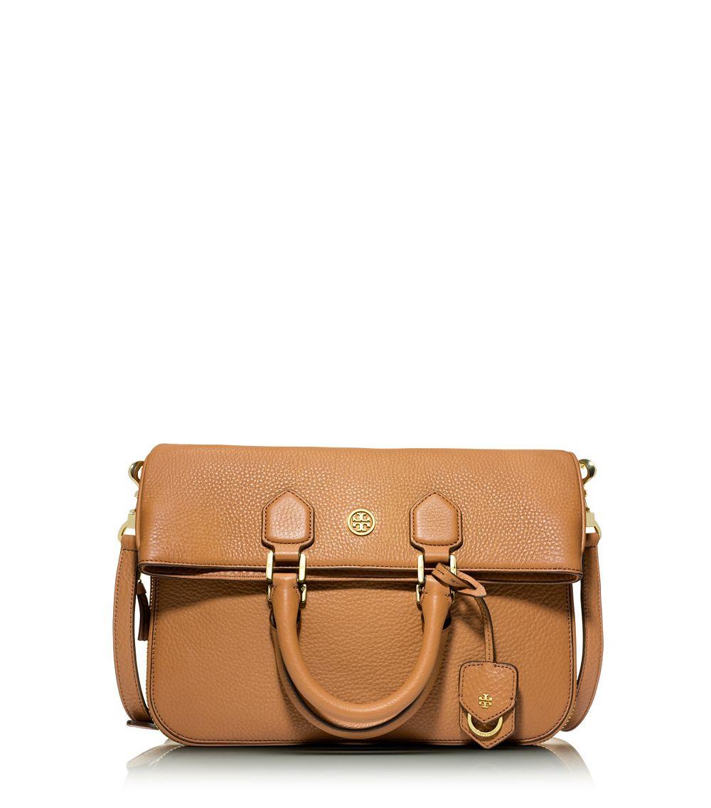 7d7a0559e96a Lyst - Tory Burch Robinson Pebbled Fold-Over Messenger in Brown