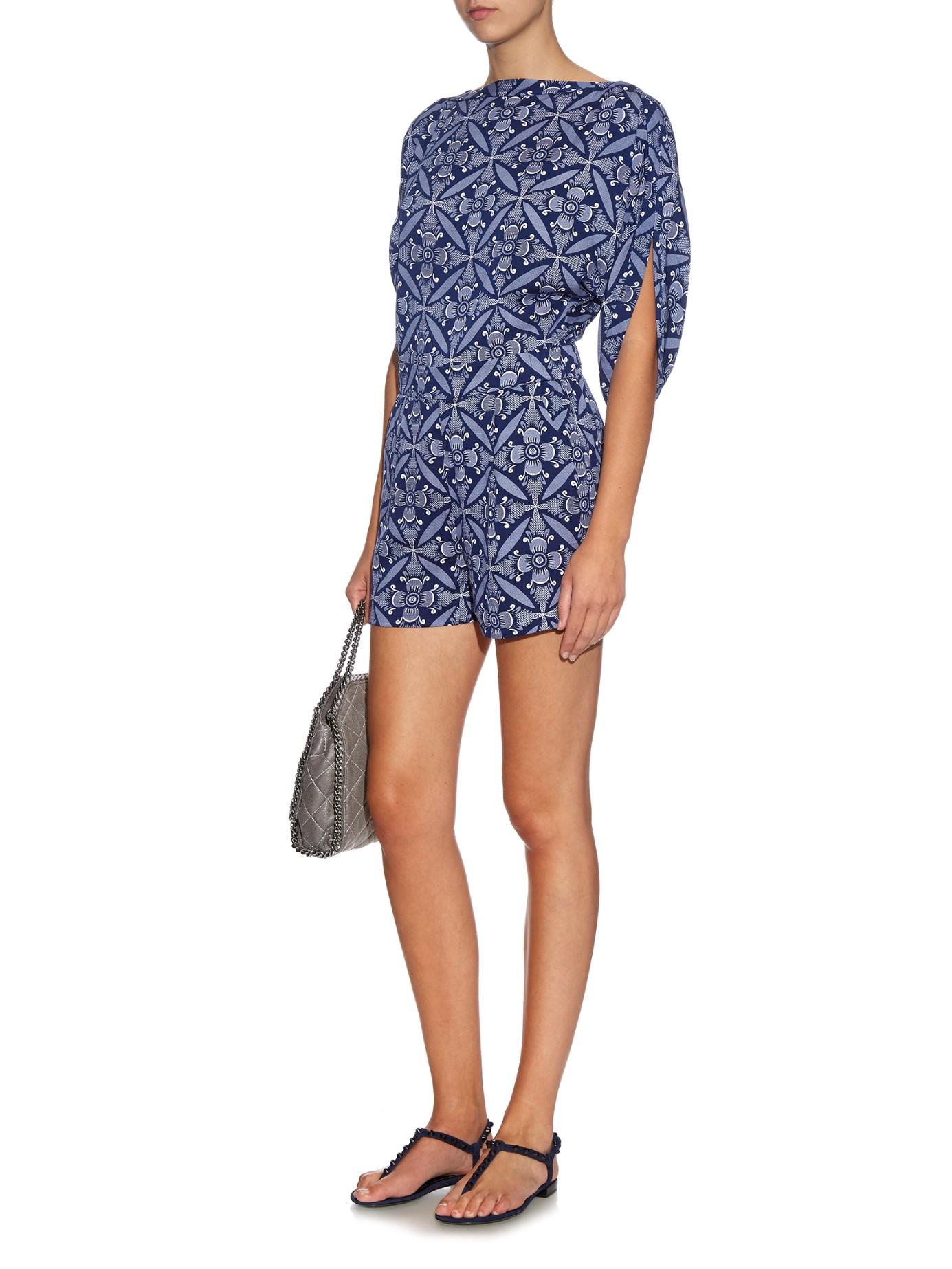 feaab3b37bc Lyst - Diane von Furstenberg Soleil Playsuit in Blue