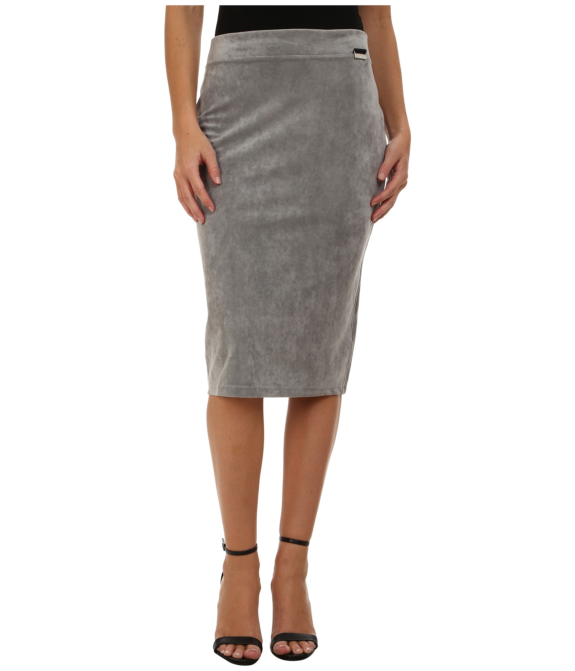 Calvin klein Faux Suede Pencil Skirt in Gray | Lyst