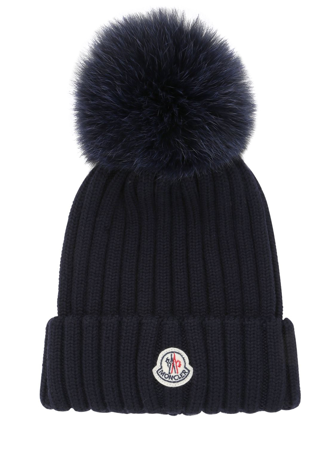 Moncler Wool Beanie Hat With Fox Fur Pompom in Blue for Men - Lyst f6ae4034d71