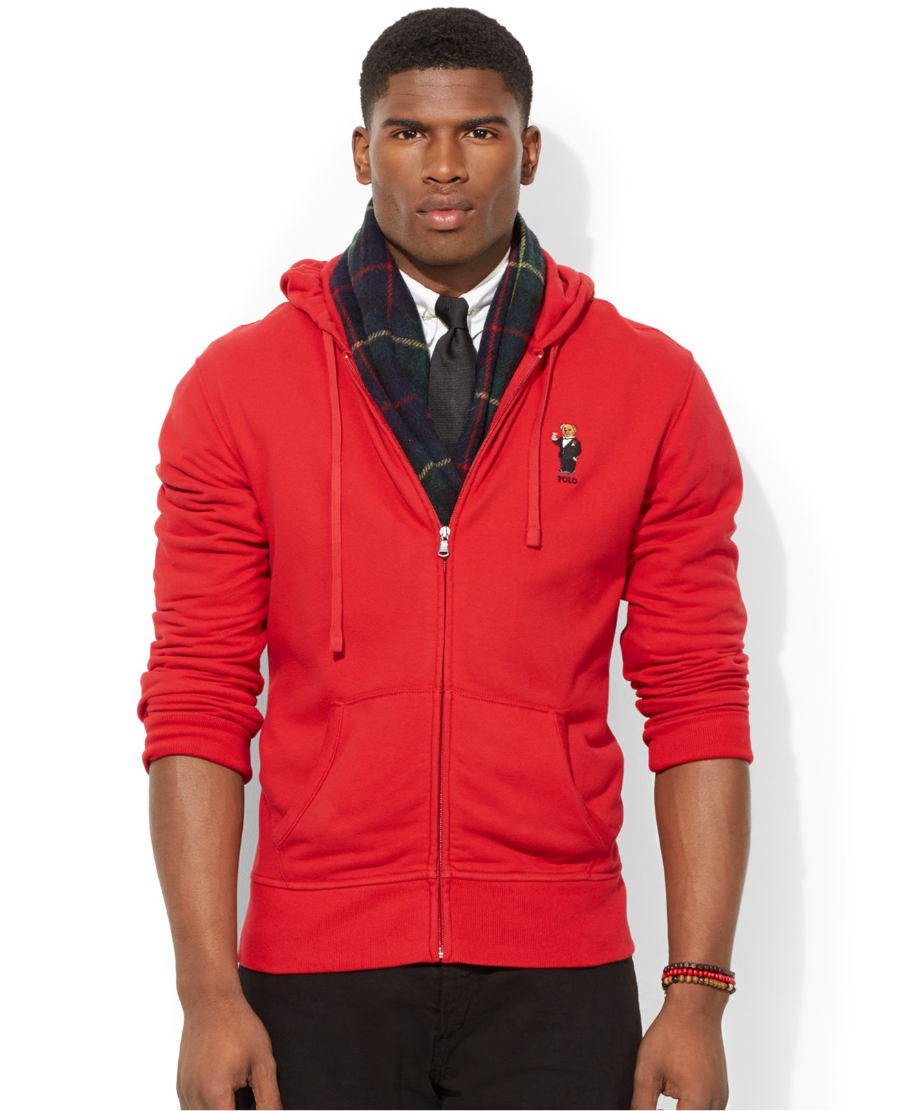 Polo Ralph Lauren French-Rib Full-Zip Red Hoodie .