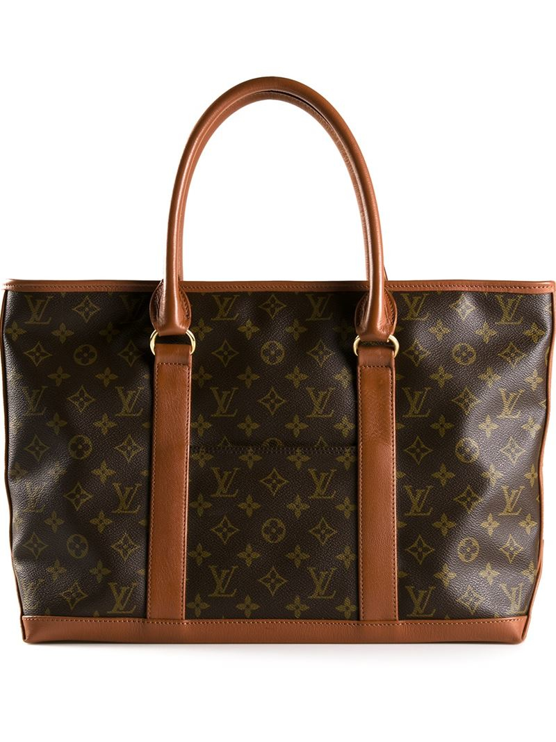 louis vuitton weekend tote in brown lyst. Black Bedroom Furniture Sets. Home Design Ideas