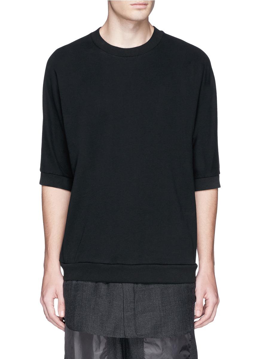 3.1 phillip lim Hem Insert Cotton Short Sleeve Sweatshirt in Black ...