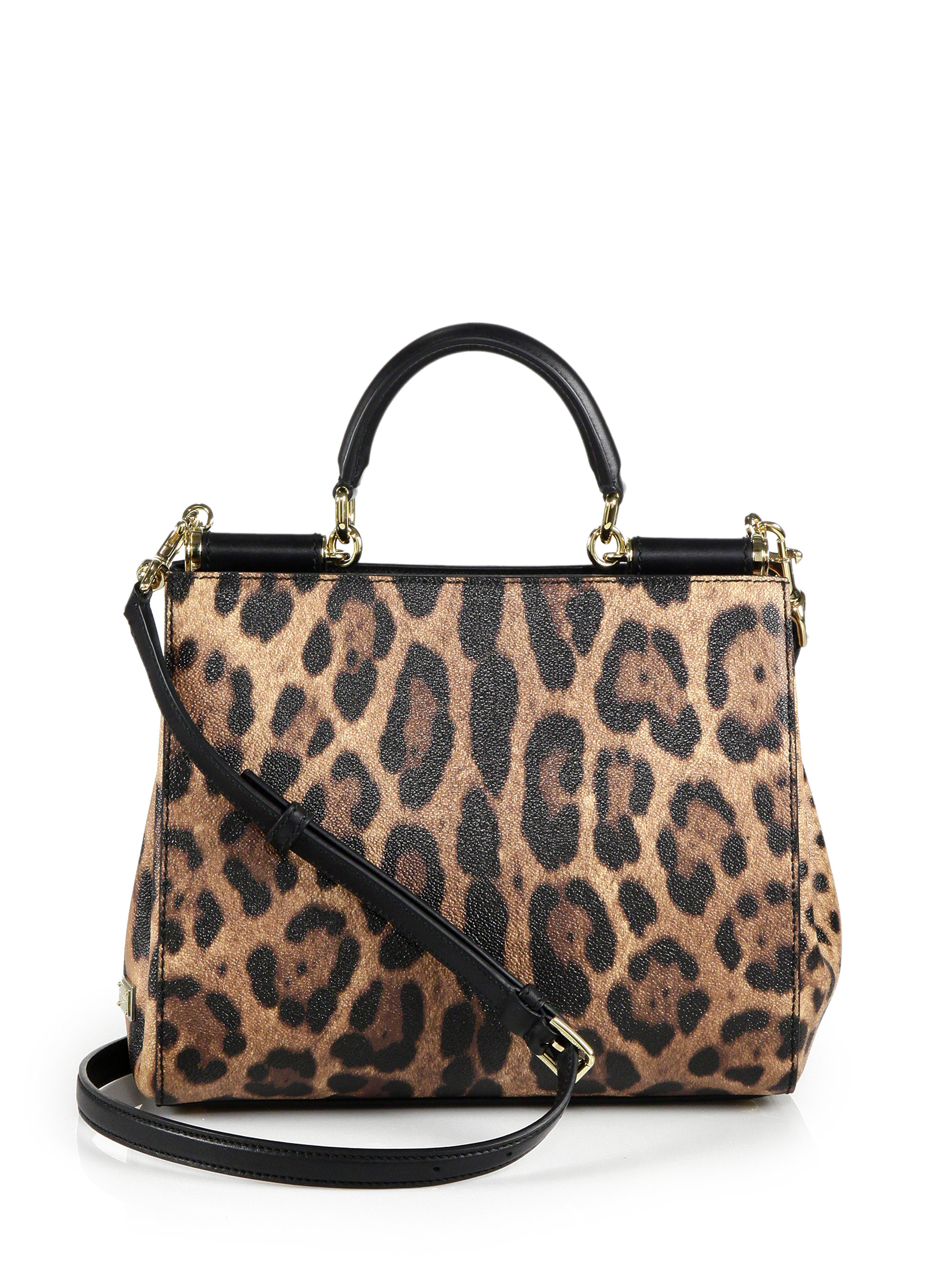 Lyst - Dolce   Gabbana Sicily Medium Leopard-print Textured Leather ... 65be5fc8ae