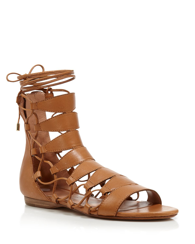 dffd700858e2 Sigerson Morrison Flat Lace Up Gladiator Sandals - Adal in Natural ...