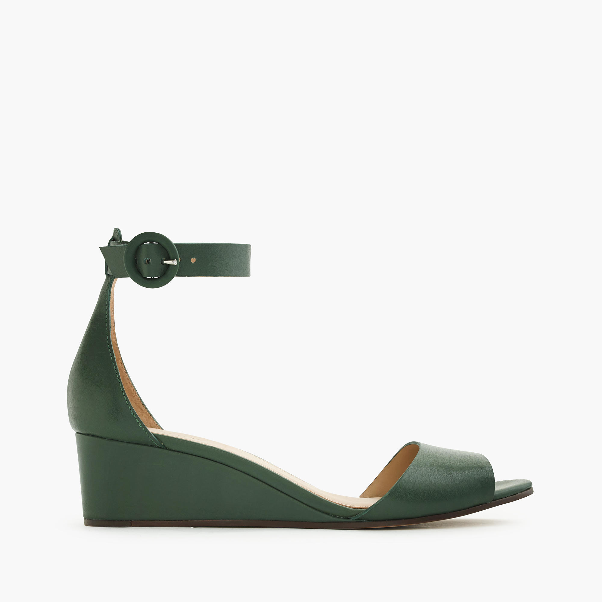 j crew leather laila wedges in green lyst