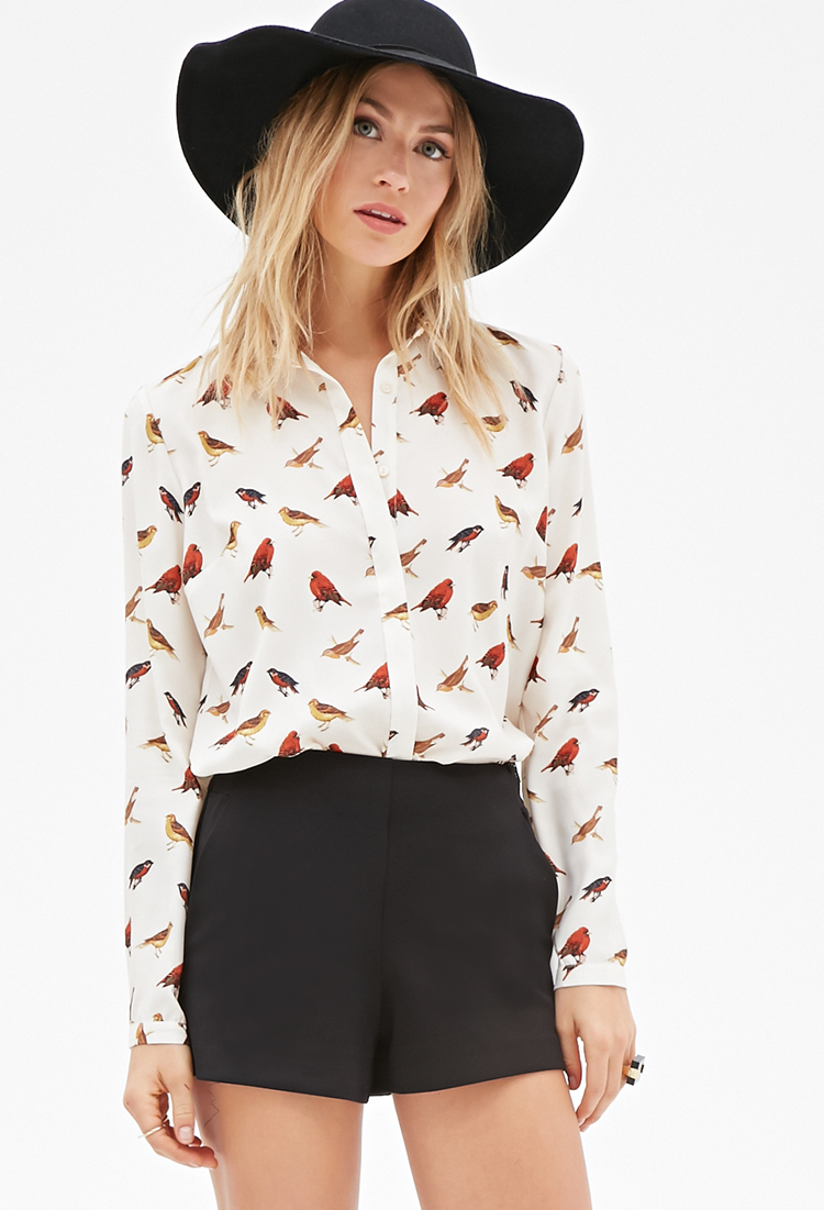 lyst forever 21 contemporary bird print button down blouse in white. Black Bedroom Furniture Sets. Home Design Ideas