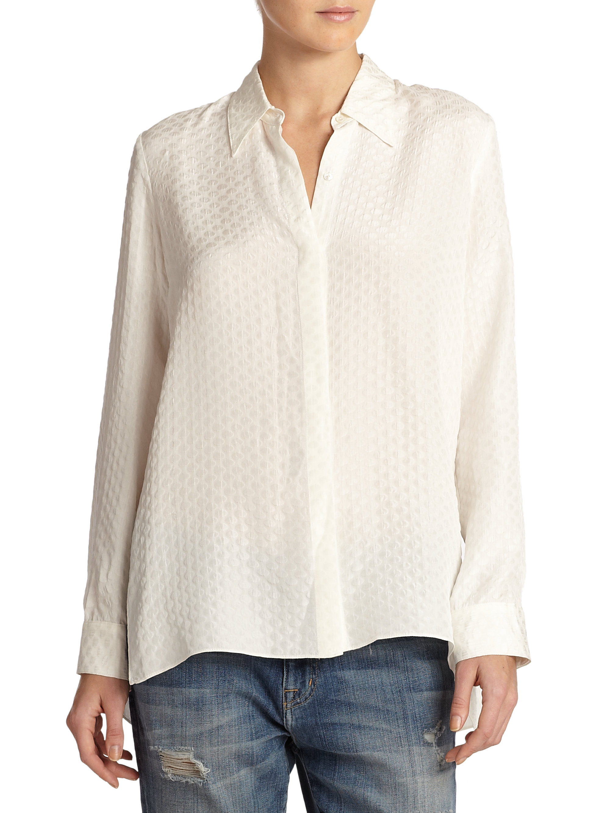 36d00b8074a4f4 Lyst - Elizabeth and James Rollins Jacquard Silk Blouse in White
