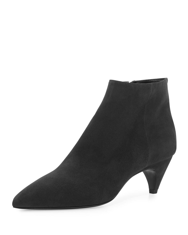 Prada Suede Kitten-heel Bootie in Black | Lyst
