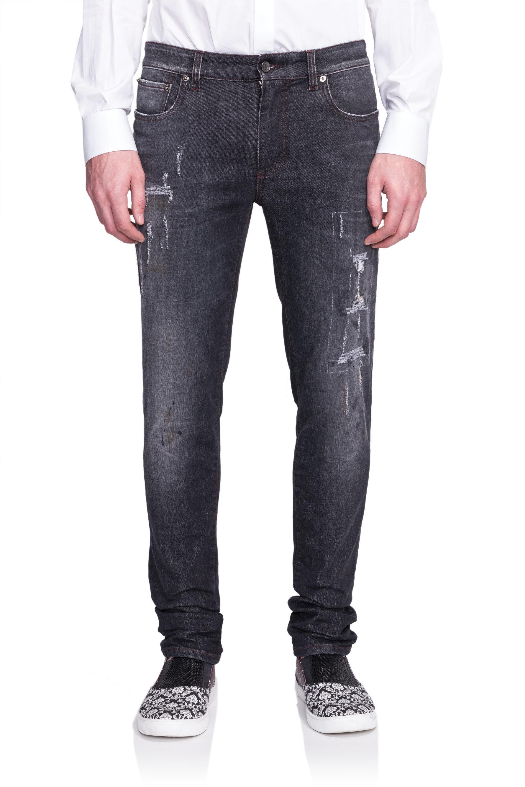 dolce gabbana distressed stretch denim jeans in black for men lyst. Black Bedroom Furniture Sets. Home Design Ideas