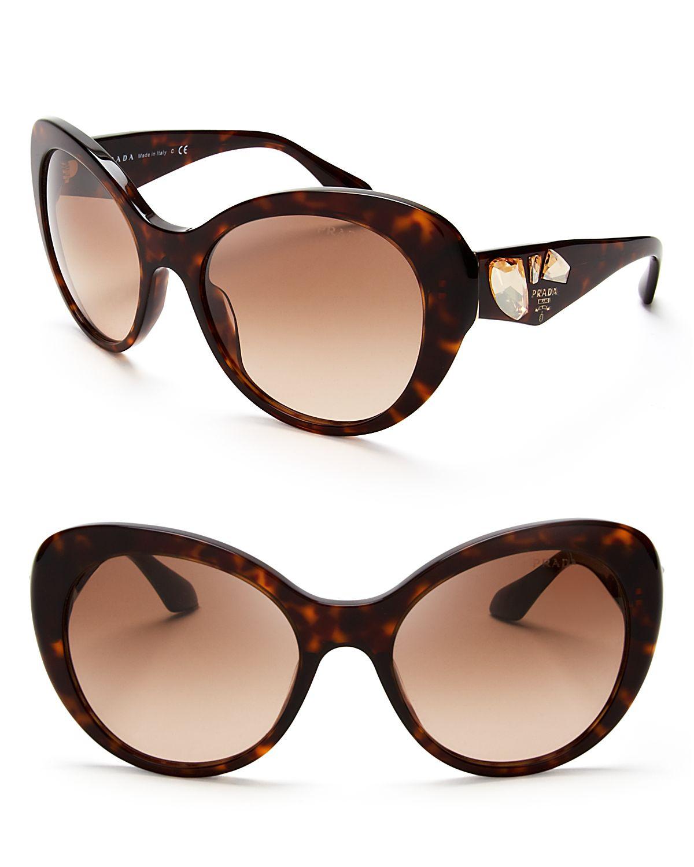 Prada Oversized Crystal Cat Eye Sunglasses In Brown