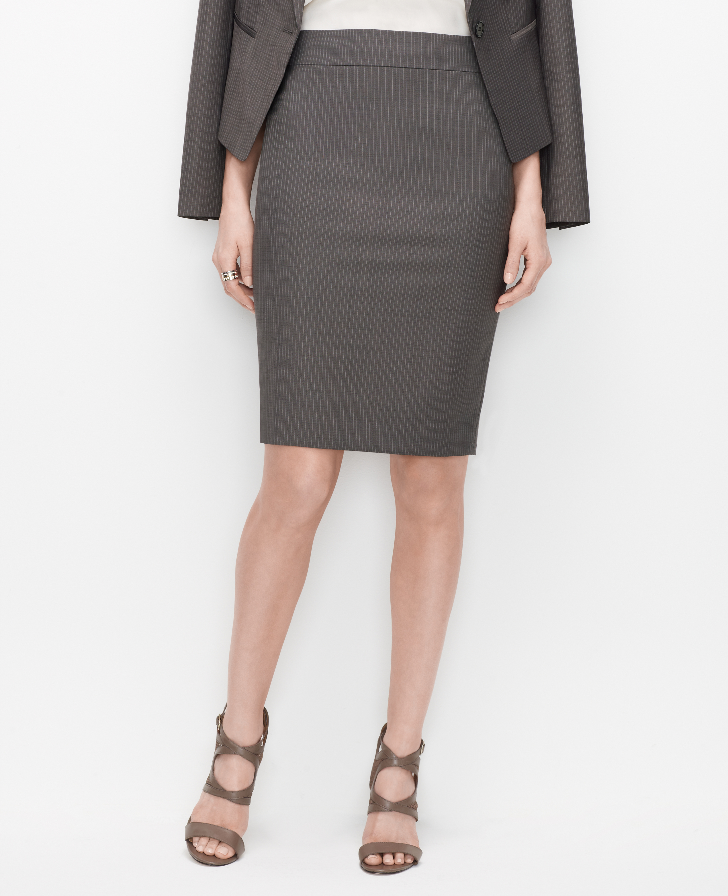 Ann taylor Petite Pinstripe Pencil Skirt in Gray | Lyst