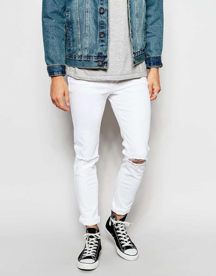 08f42649069 Lyst Dr Denim Jeans Snap Skinny Fit Clean White Destroyed In