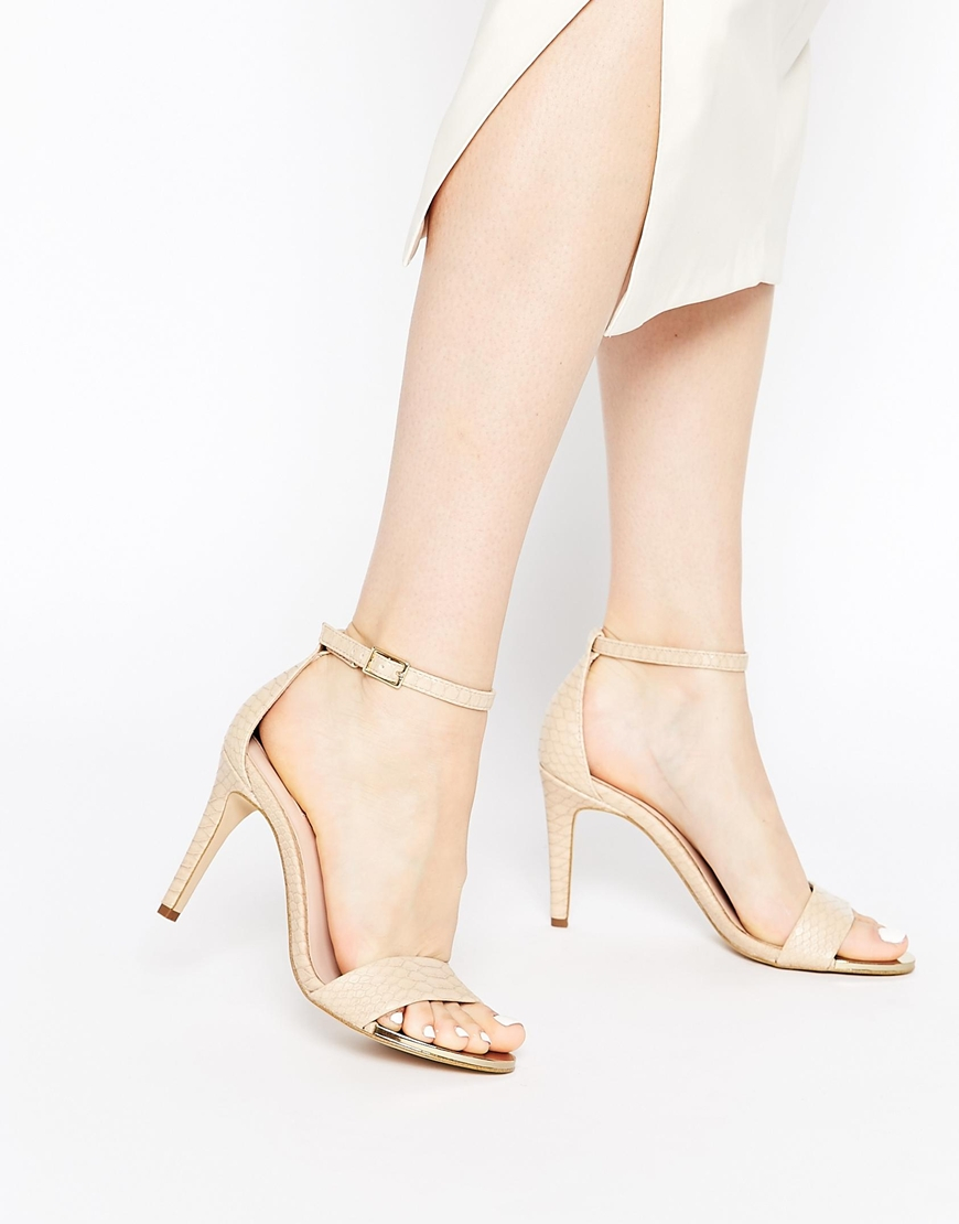 44c9910a7d07 Lyst - ALDO Ldo Ridia Beige Metal Barely There Heeled Sandals in Natural