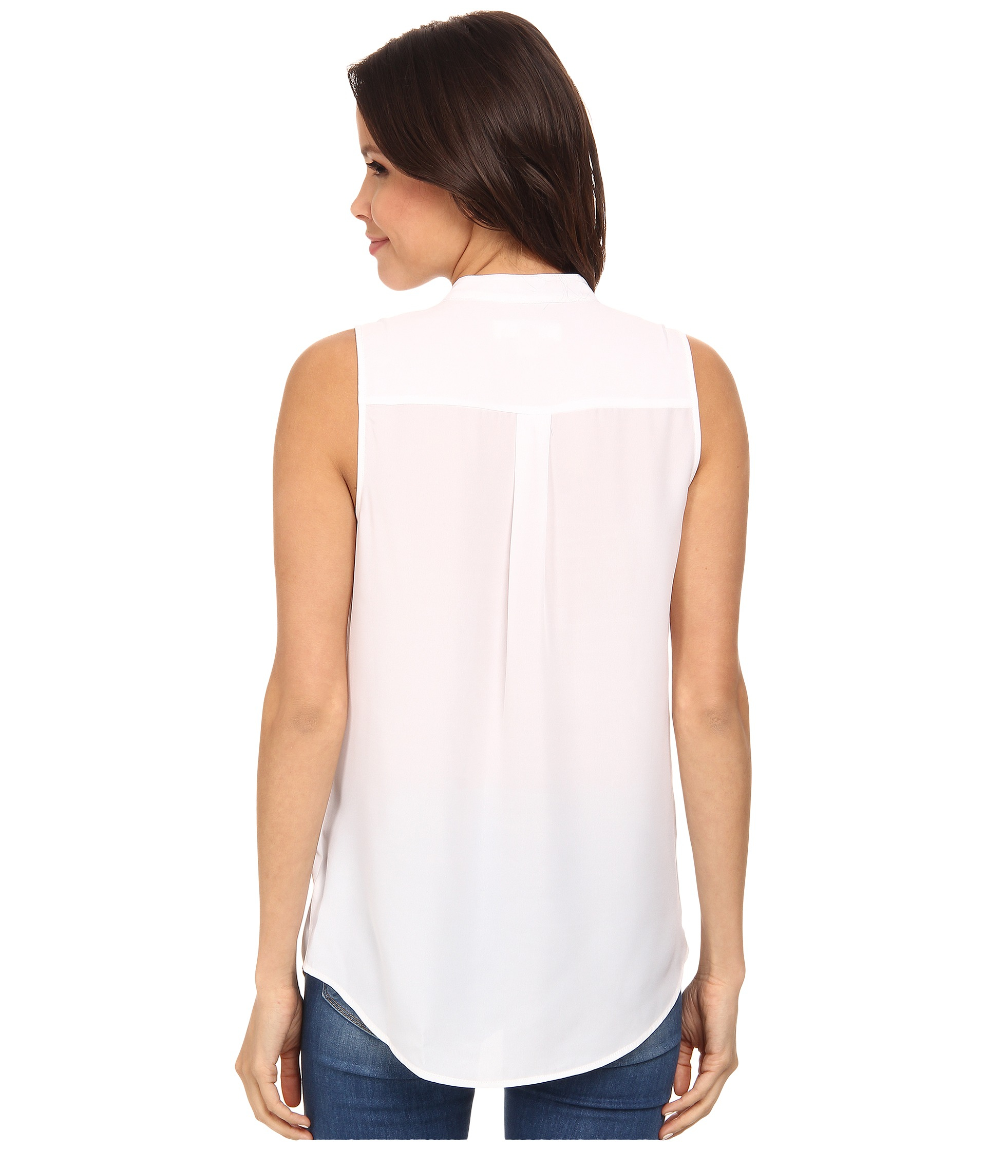 Michael michael kors embellished pocket sleeveless button for Sleeveless cotton button down shirts