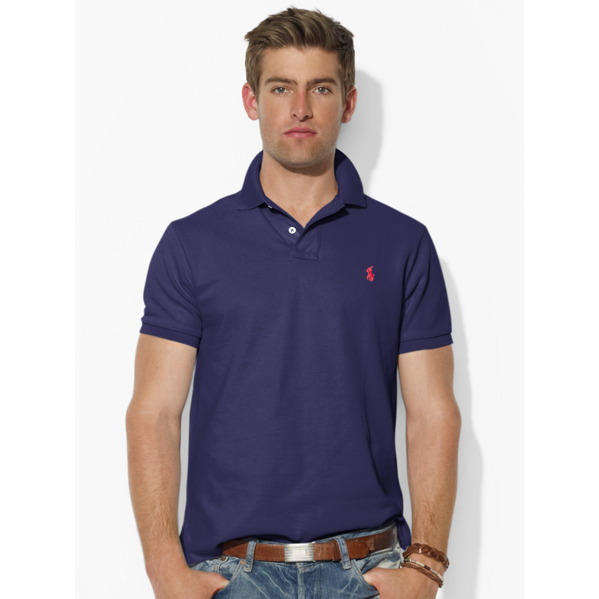 Polo Ralph Lauren | Blue Custom-fit Mesh Polo Shirt for Men | Lyst. View Fullscreen