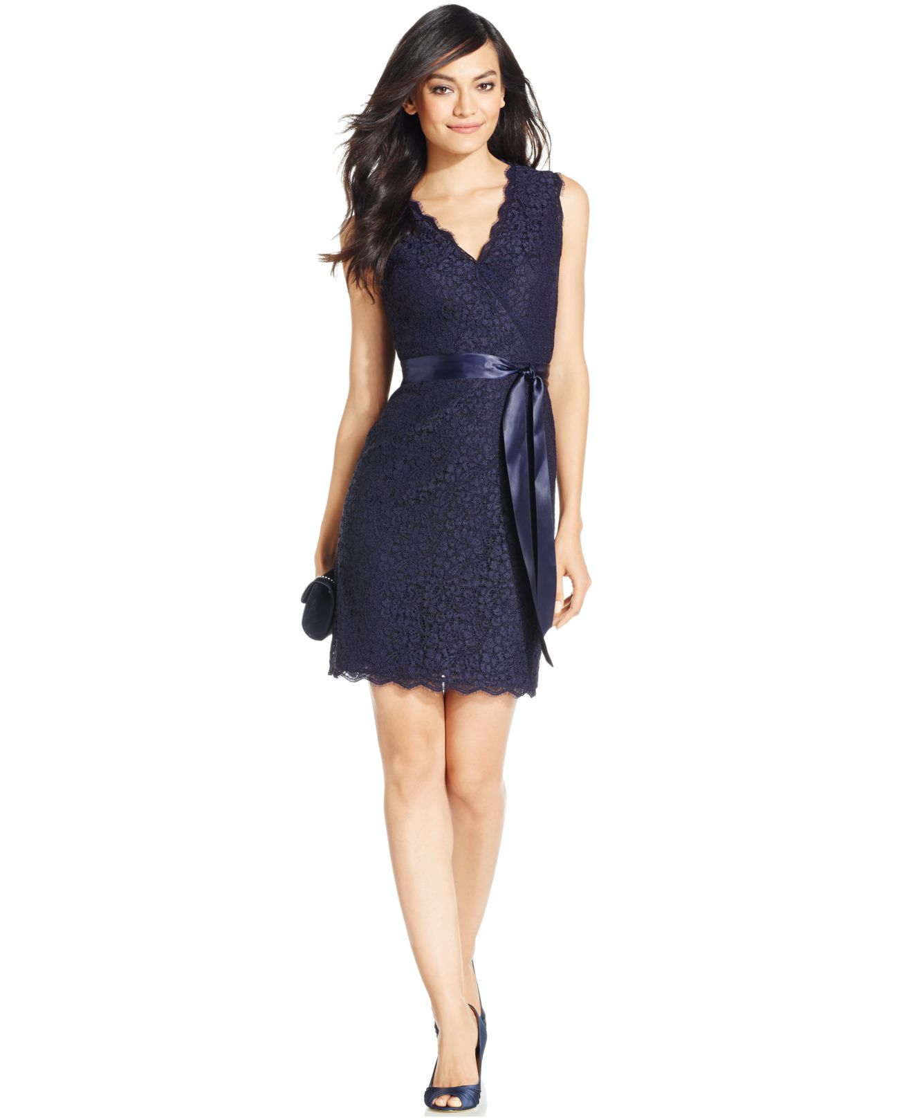 Navy blue lace dress sleeveless