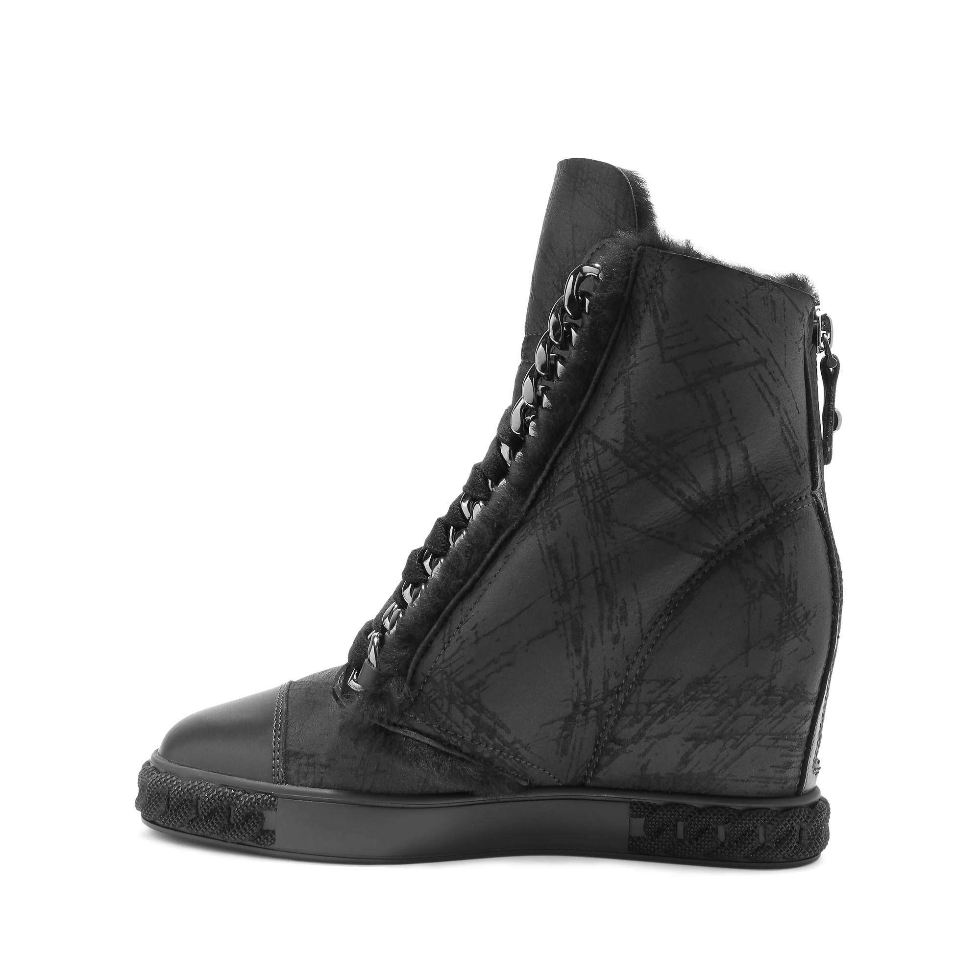 casadei chain detailed leather sneaker boots in black lyst