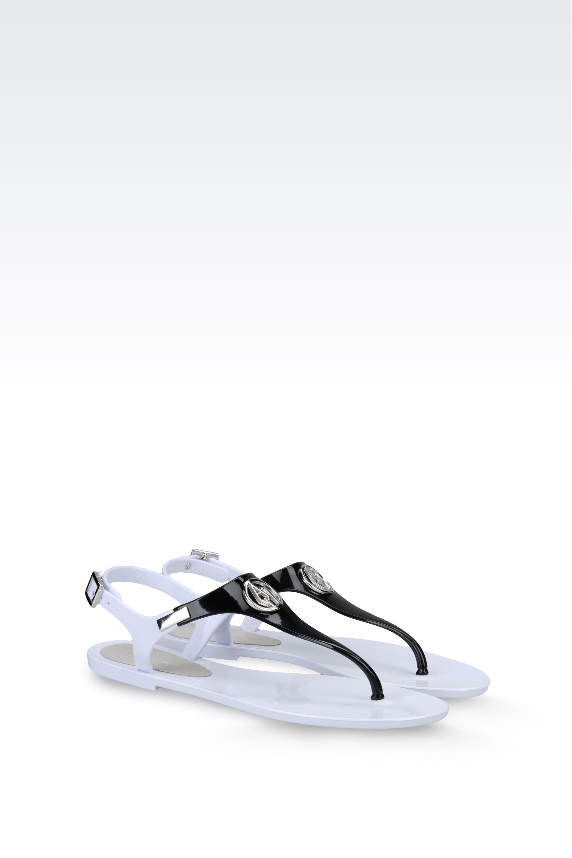 d7587232db82 Armani Jeans Flat Sandal in Black - Lyst