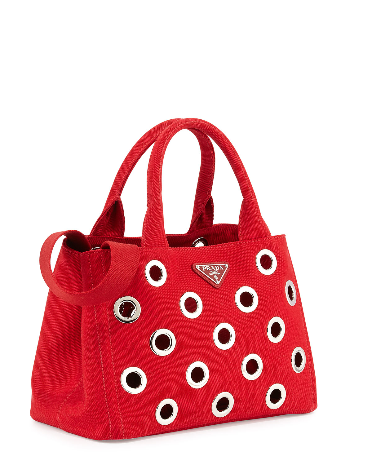 a2dd24017f49 Lyst - Prada Canapa Grommet Small Garden Tote Bag in Red