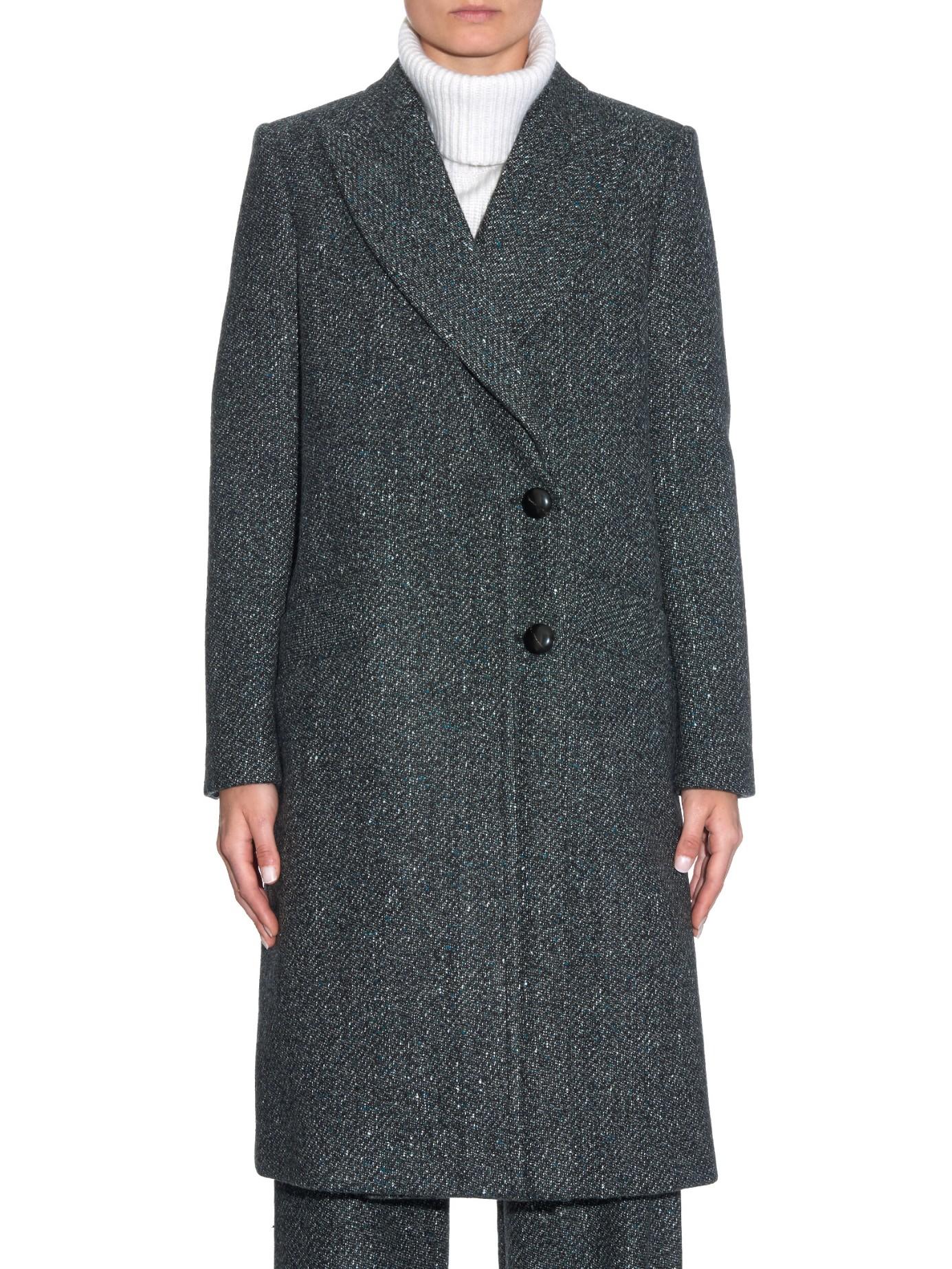 Proenza schouler Peak-lapel Speckled Tweed Long Coat in Gray | Lyst