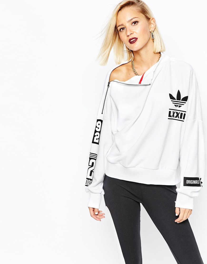 adidas originals berlin high neck sweatshirt in white lyst. Black Bedroom Furniture Sets. Home Design Ideas