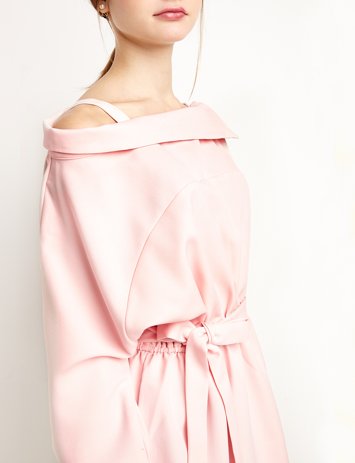 edcc562ba402 Lyst - Pixie Market Pale Pink Off The Shoulder Shirt Dress in Pink