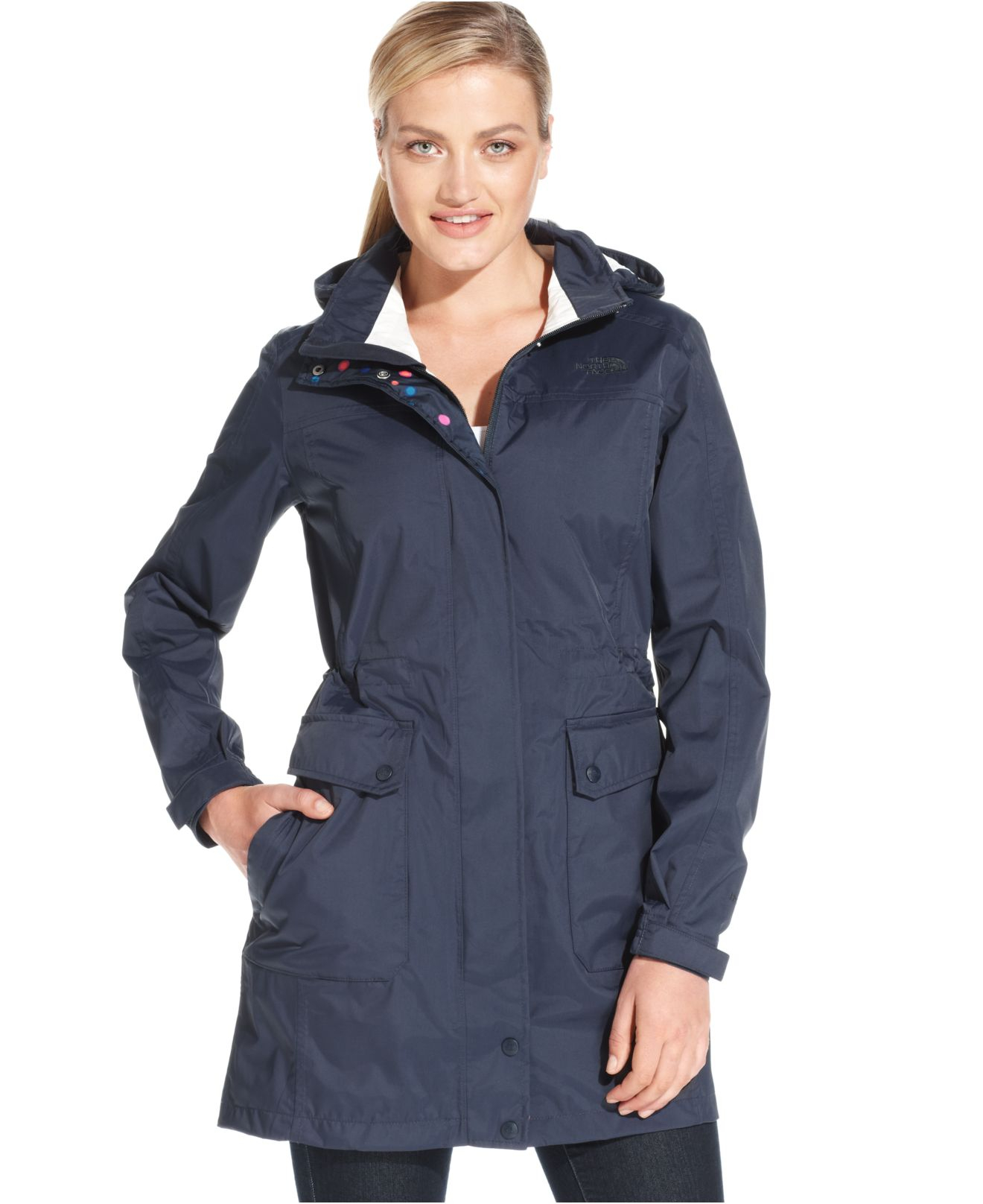 The north face Quiana Hooded Rain Jacket in Blue | Lyst