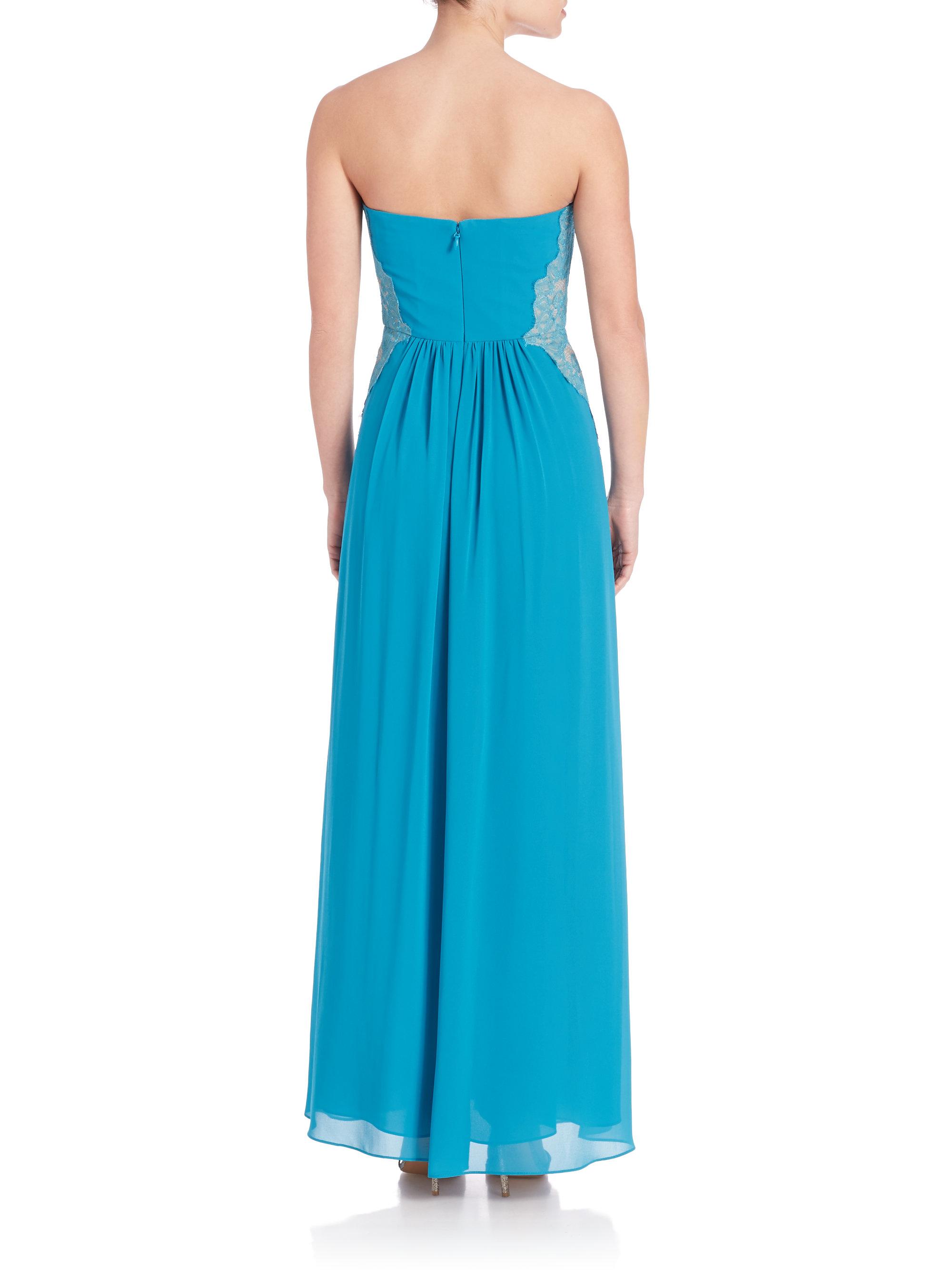 Bcbgmaxazria Ashby Strapless Lace Trim Gown In Blue Lyst