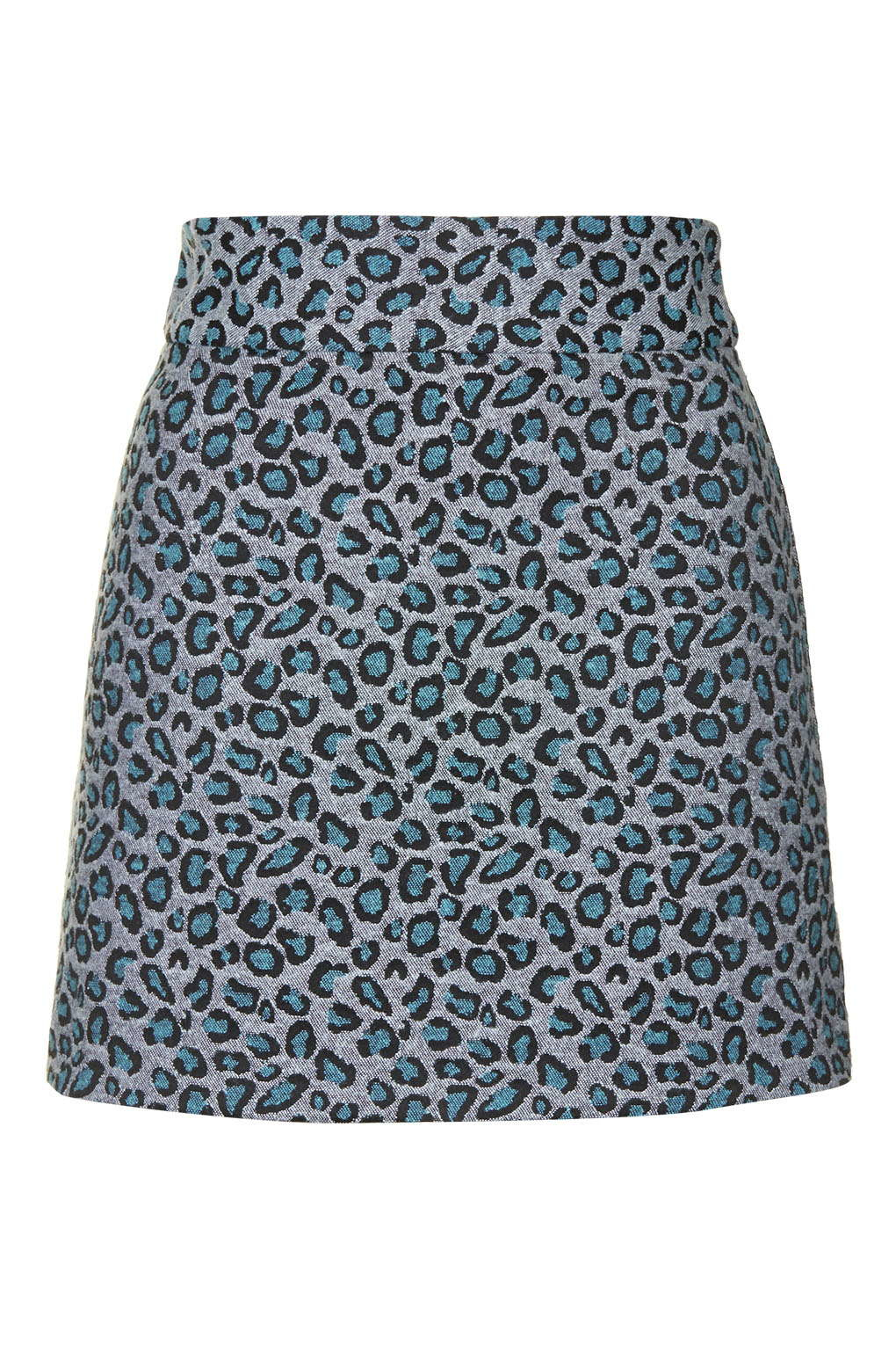 Topshop Animal Print A-line Skirt in Blue | Lyst
