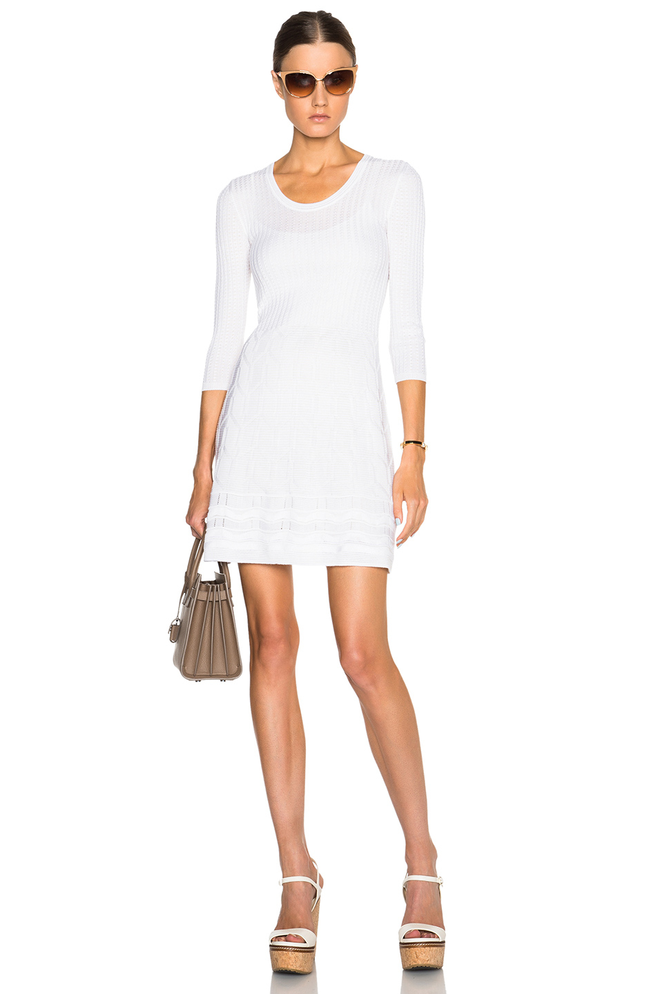 dfce48431d Lyst - M Missoni Solid Knit 3 4 Sleeve Dress in White