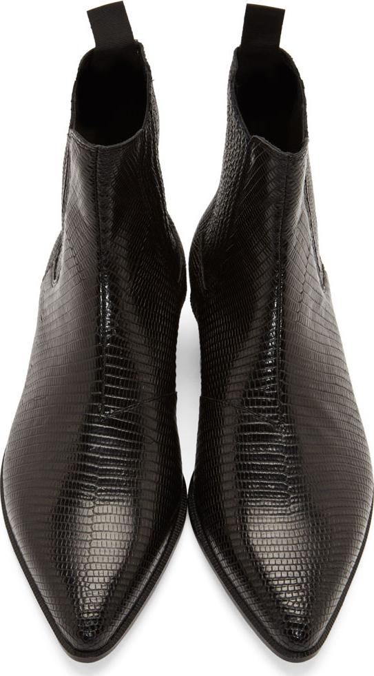 Saint Laurent Black Lizard Skin Winklepicker Boots In