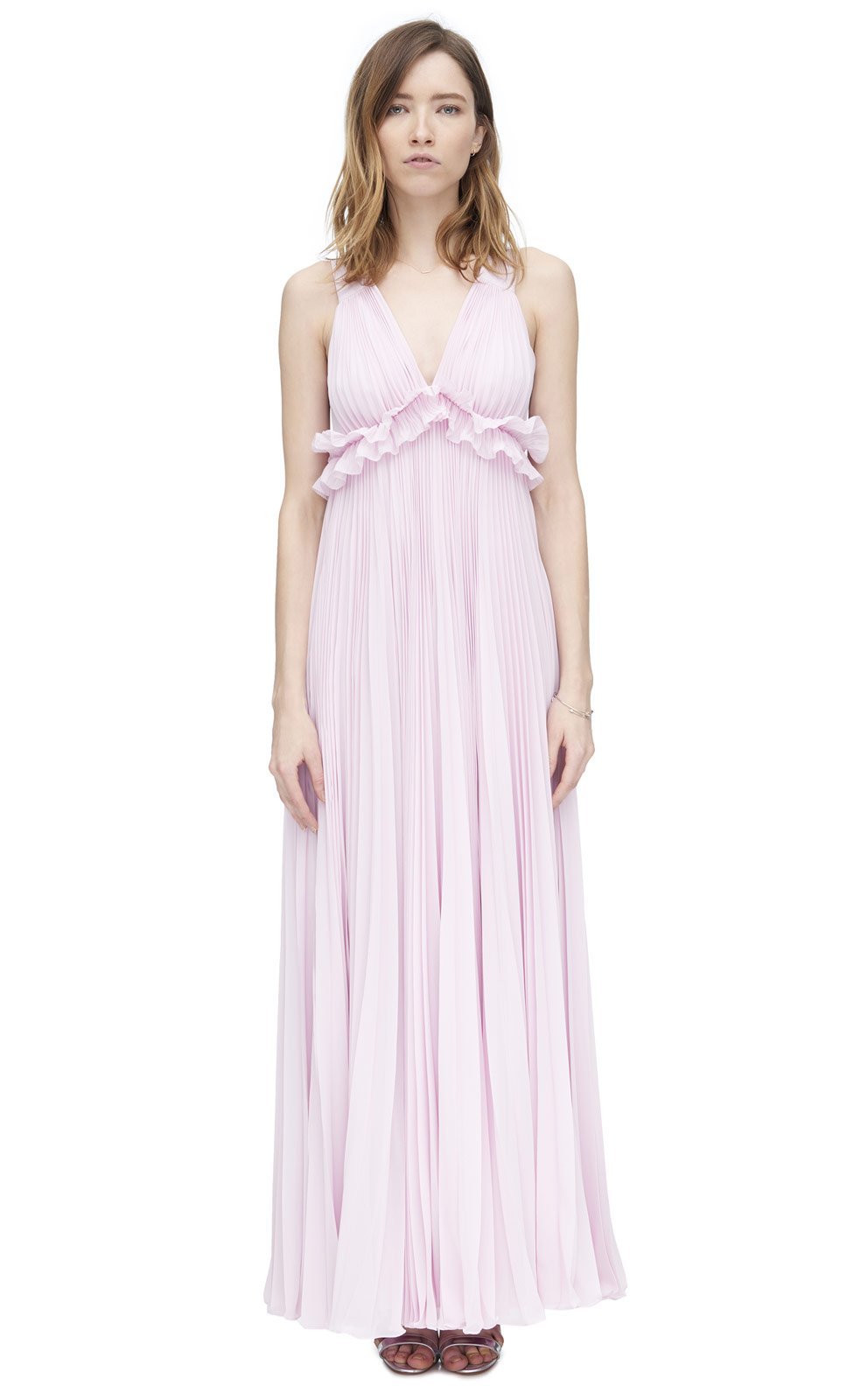 Lyst - Rebecca Taylor Chiffon Pleat Gown in Pink