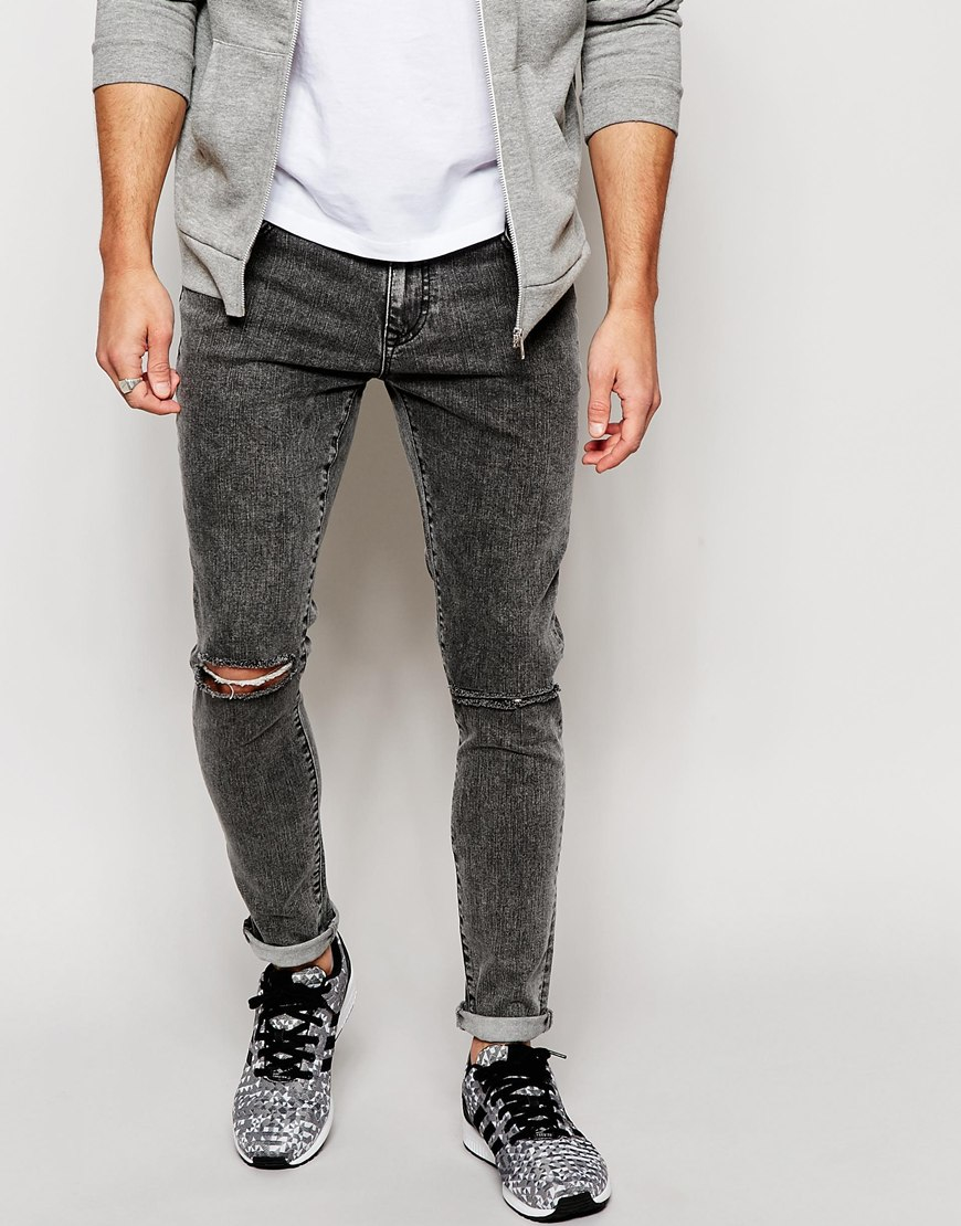 Men Acid Wash Jeans Black Shoes