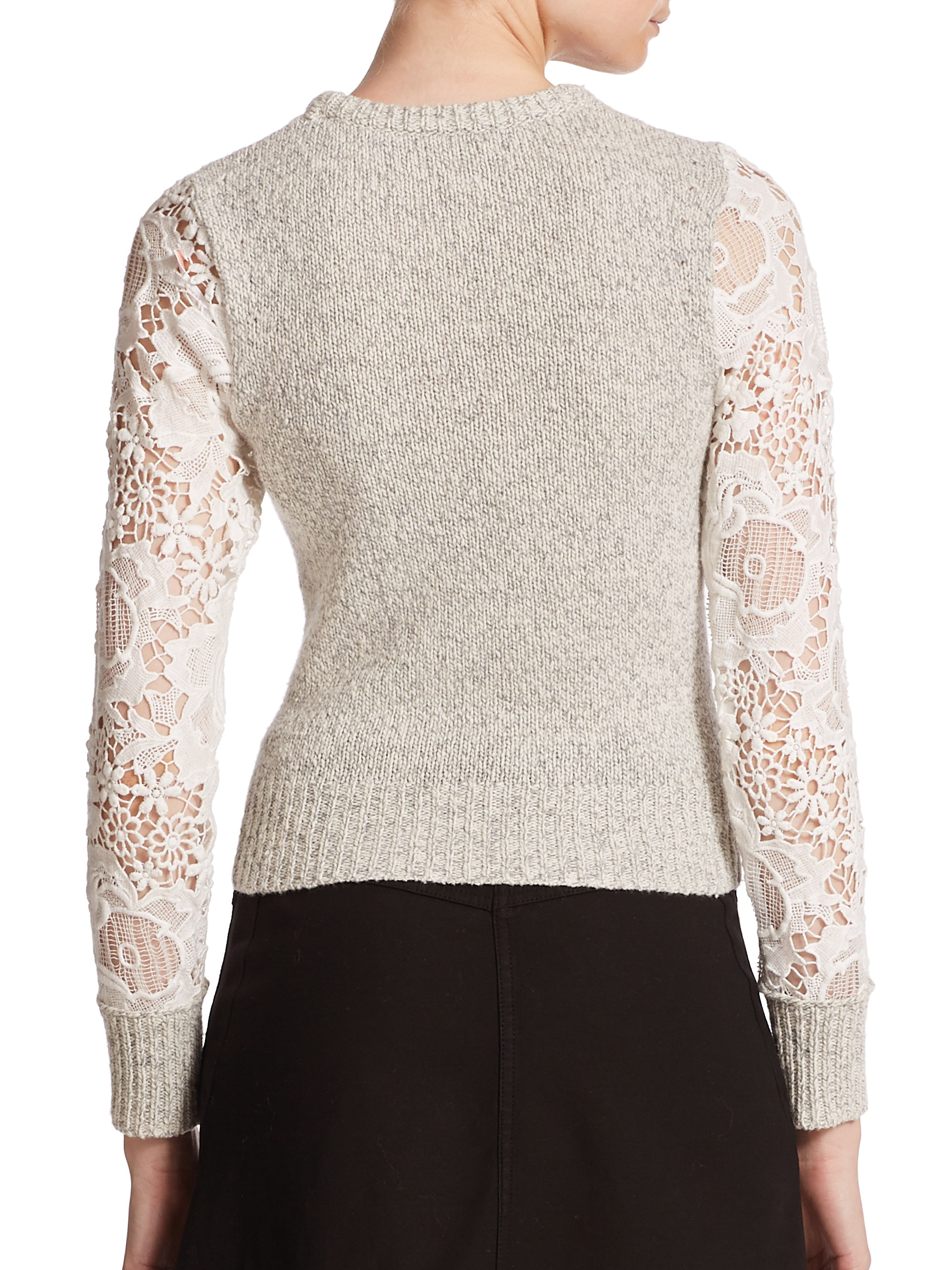 See by chloé Lace Knit Sweater in Natural | Lyst