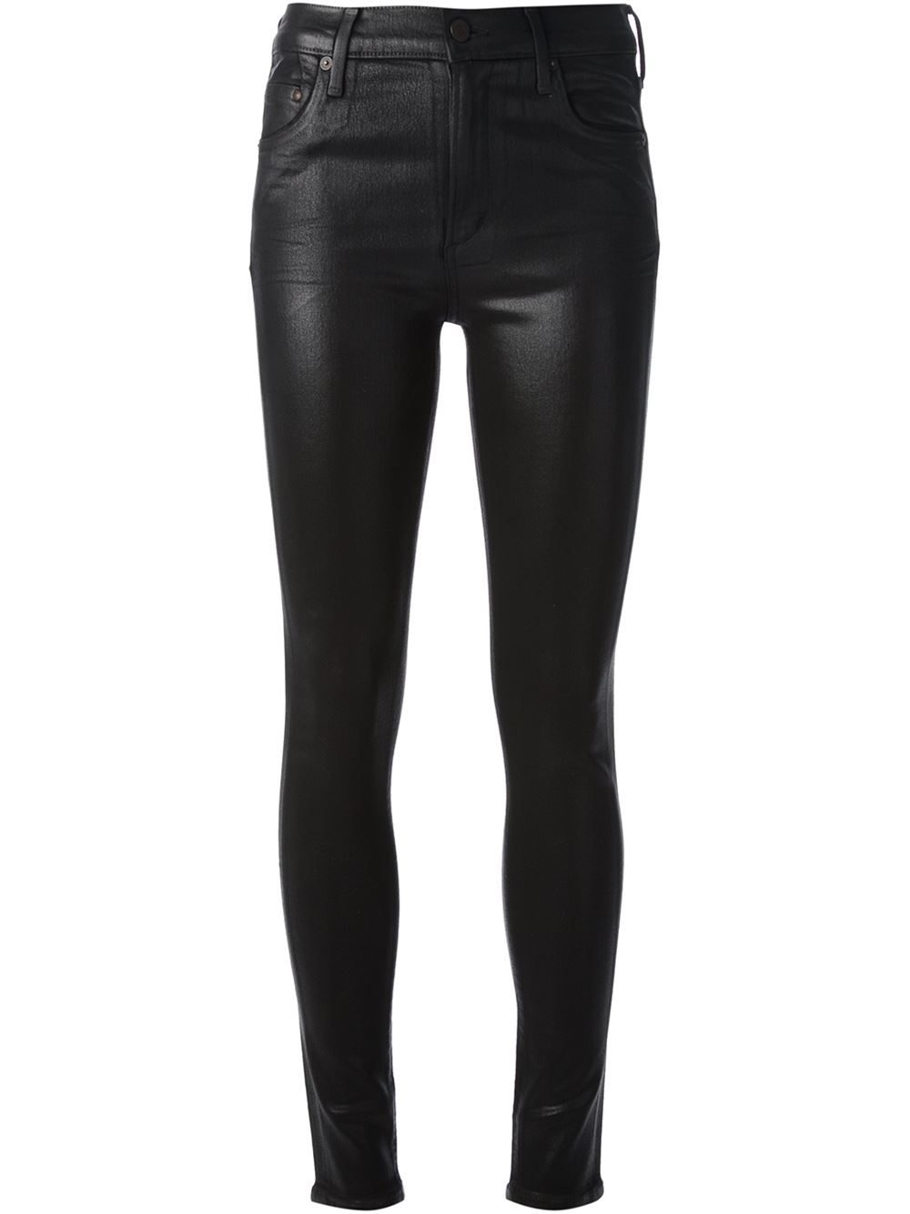 Shiny black jeans by Saint Laurent with a skinny fit. Part of the Fall/Winter collection.