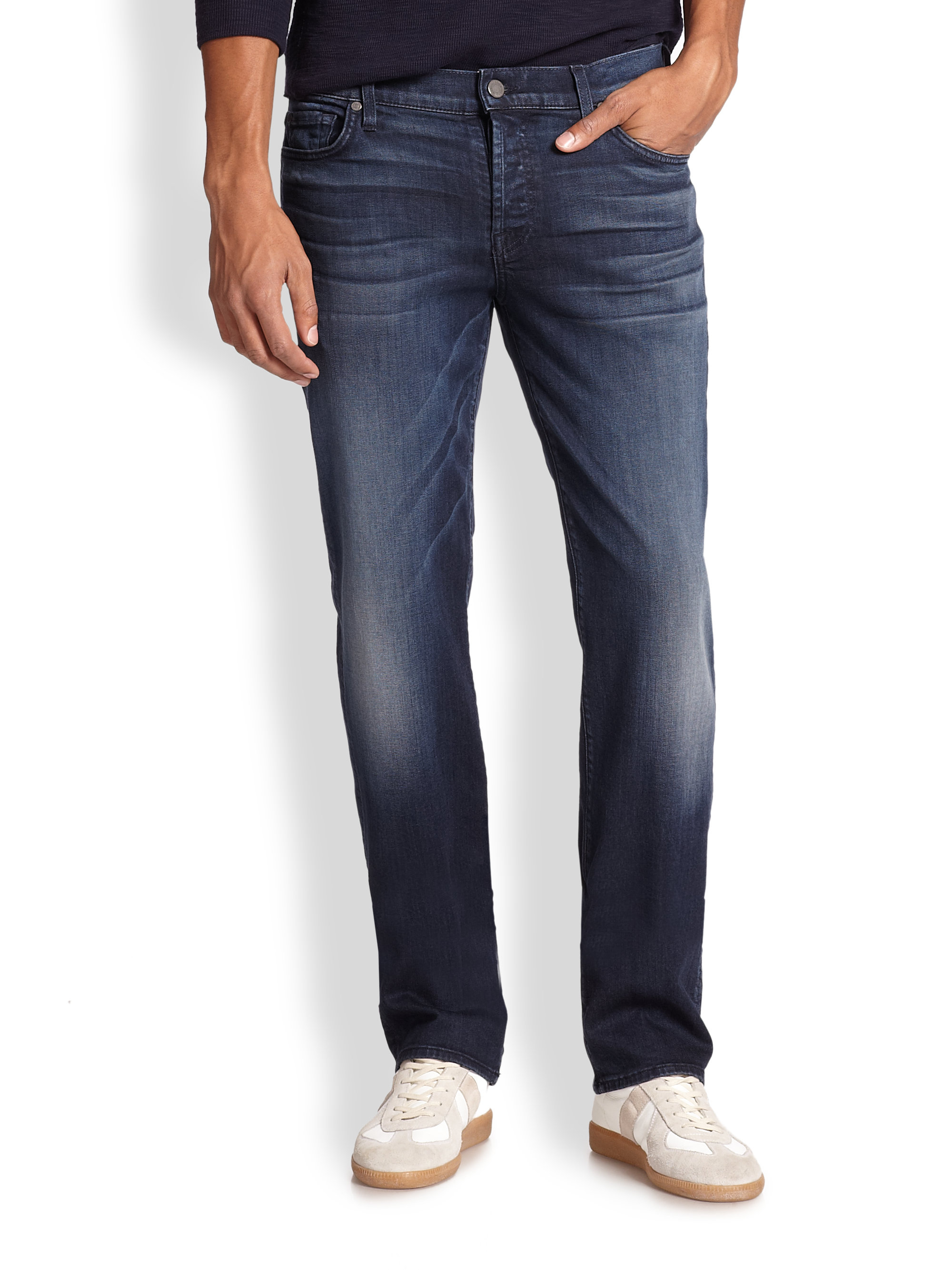 lyst 7 for all mankind luxe performance standard straight leg jeans in blue for men. Black Bedroom Furniture Sets. Home Design Ideas