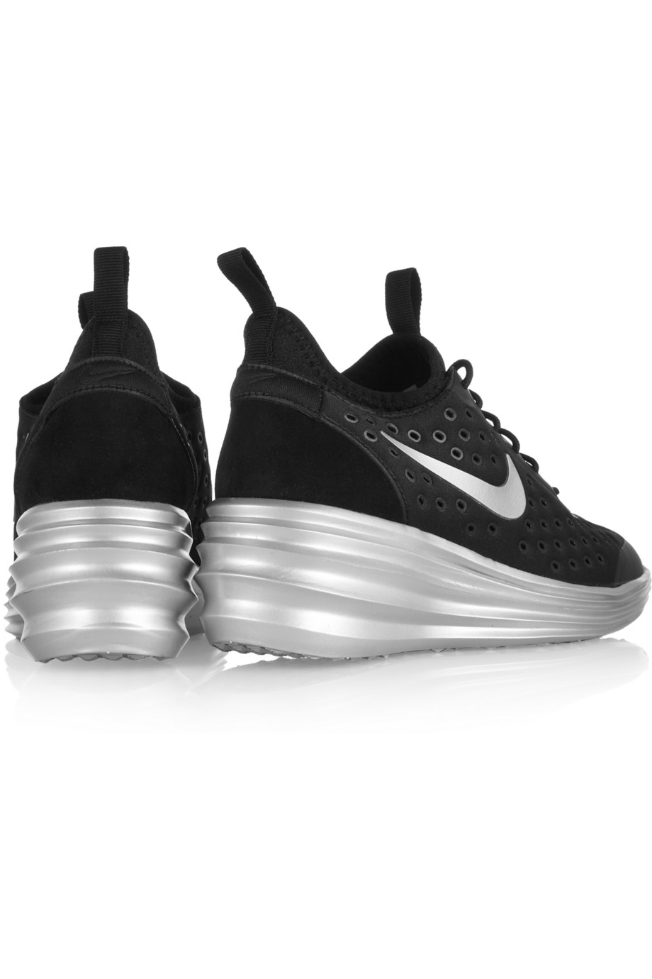 quality design 3aacf 658c0 ... get lyst nike lunarelite sky hi canvas and suede wedge sneakers in  black 1a62b ea943