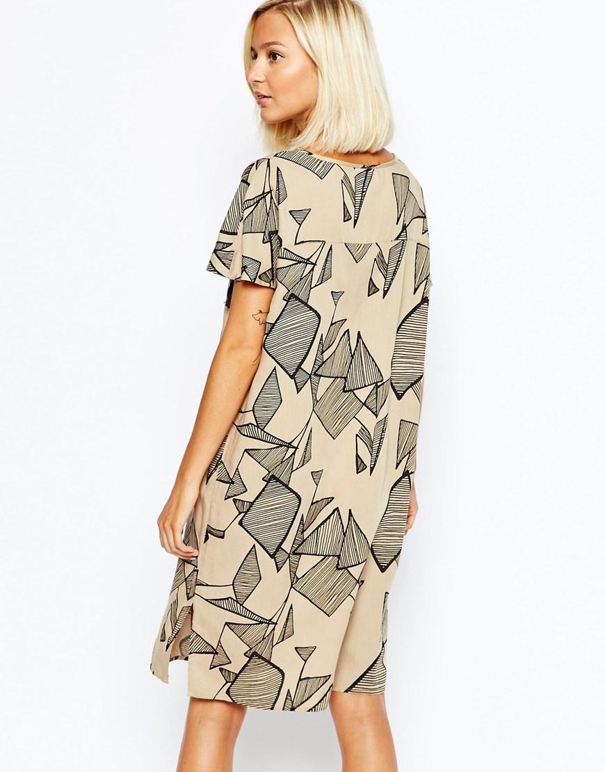 1faa16a3b16 Lyst - Vero Moda Printed T-shirt Dress With Tassel Detail in Gray