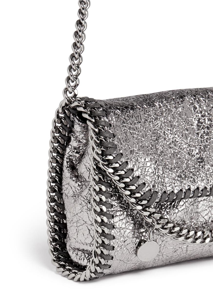lyst stella mccartney 39 falabella 39 mini metallic crossbody bag in metallic. Black Bedroom Furniture Sets. Home Design Ideas