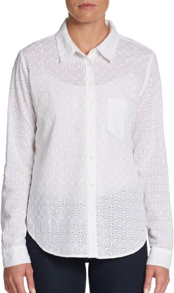 C c california eyelet cotton shirt in white lyst for Mens eyelet collar dress shirts
