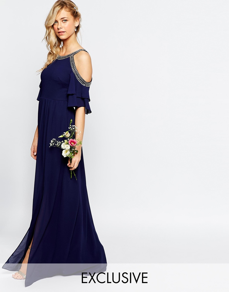 Tfnc London Wedding Cold Shoulder Maxi Dress With Fluted