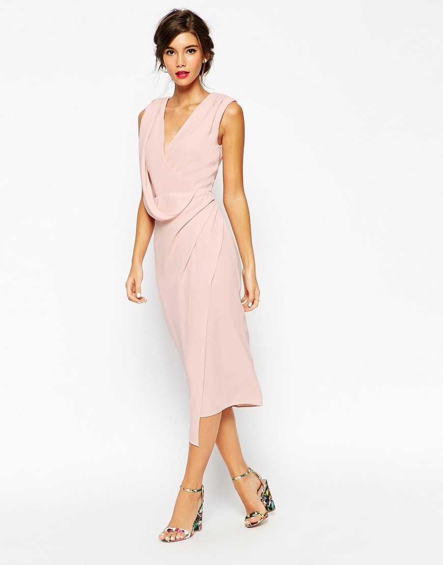 products pink drapes dusty midi core wildchildstylelab mnaumoff dress knot draped shonajoy